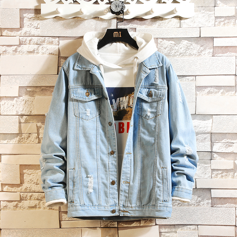 Spring and Autumn's New Style Men's Slim Fiit Denim Jacket Turn-down Collar  Single Breasted Coat