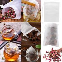 100 шт Одноразовые пакетики для чая фильтровальные пакетики для заварки чая со струнным заживающим уплотнением, пищевой нетканый тканевый ф...