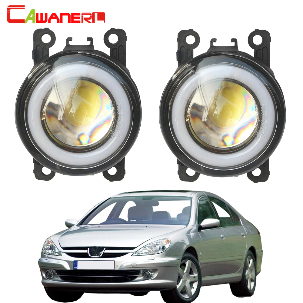 Cawanerl For 2000-2006 <font><b>Peugeot</b></font> <font><b>607</b></font> (9D, 9U) Saloon Car COB LED Fog Light Halo Ring Angel Eye Daytime Running Light DRL 12V image