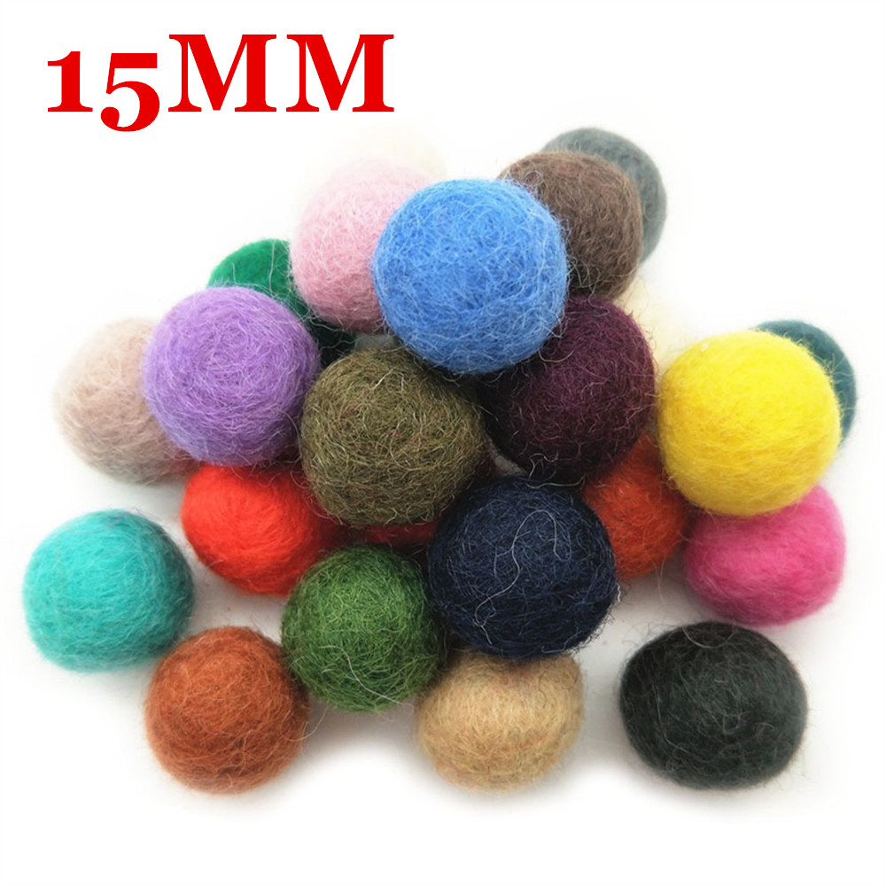 10pcs 15MM 100% Wool Felt Balls Colorful Round Wool Felt Ball Pompoms For Girls Jewelry Findings Room Weeding Party Decor Supply