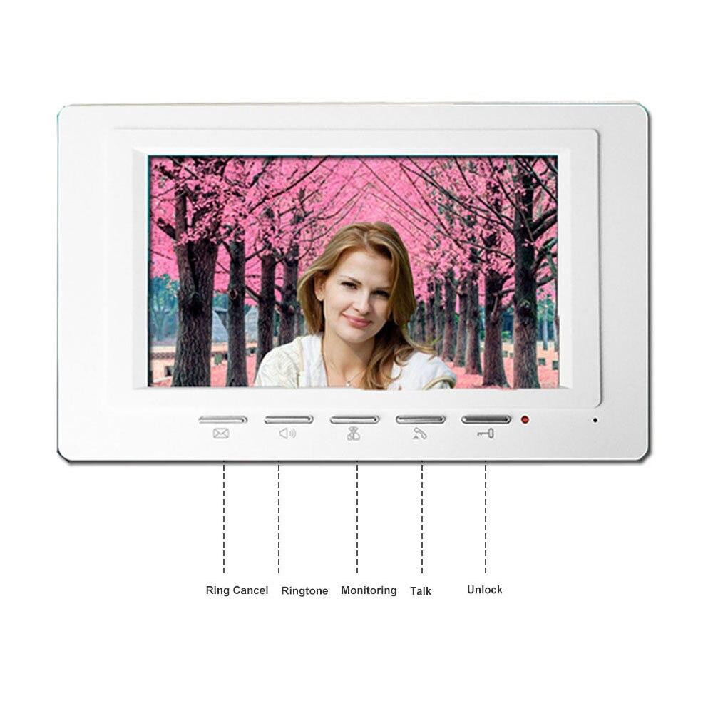 Купить с кэшбэком Fullvisual Video Door Phone 2 Monitors Wired 7 Inch Home Intercom Door Access Control Kit Unlock Black/White Doorbell 1200TVL