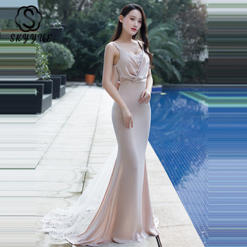 Skyyue Train Evening Dress Sleeveless Backless Women Party Dress 2020 H123 Floor Length Robe De Soiree Sexy Mermaid Formal Gown