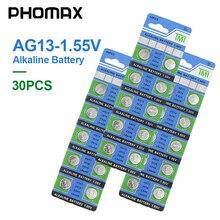 PHOMAX AG13 30 adet/paket elektronik düğme pil LR44 V303 SR44 S76E SG13 AG 13 1.55V izle uzaktan kumanda alkalin pil