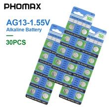 PHOMAX AG13 30pcs/ pack electronic button battery LR44 V303 SR44 S76E SG13 AG 13 1.55V for watch remote control alkaline battery