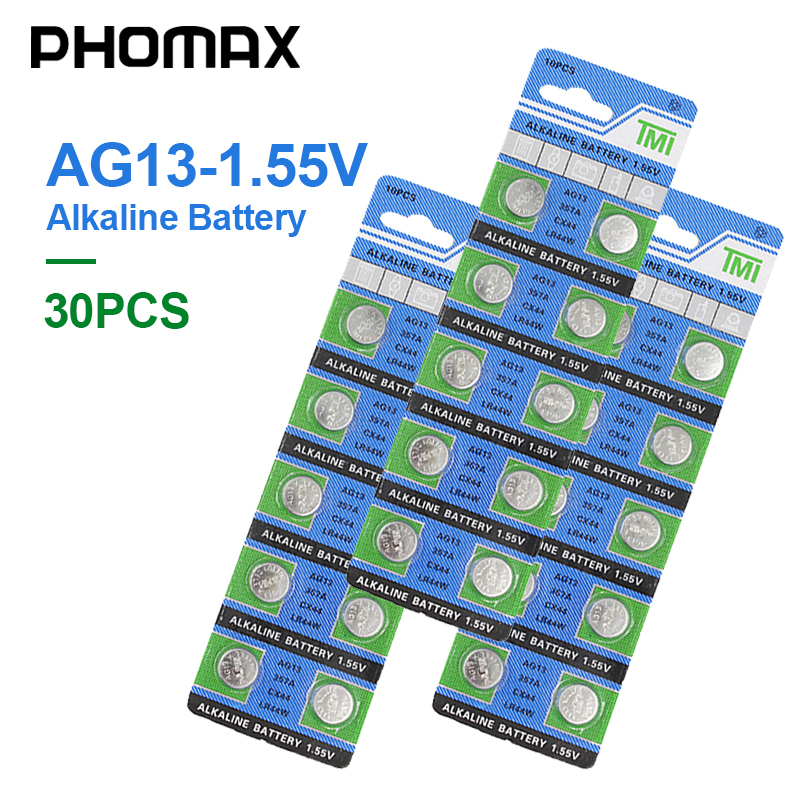 PHOMAX AG13 30pcs/ pack electronic button battery <font><b>LR44</b></font> V303 SR44 S76E SG13 <font><b>AG</b></font> <font><b>13</b></font> 1.55V for watch remote control alkaline battery image