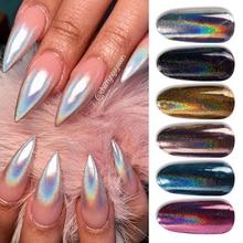 1 Box Glitter for Nails Holographics Powder Silver Polishing Chrome Pigments Nail Art