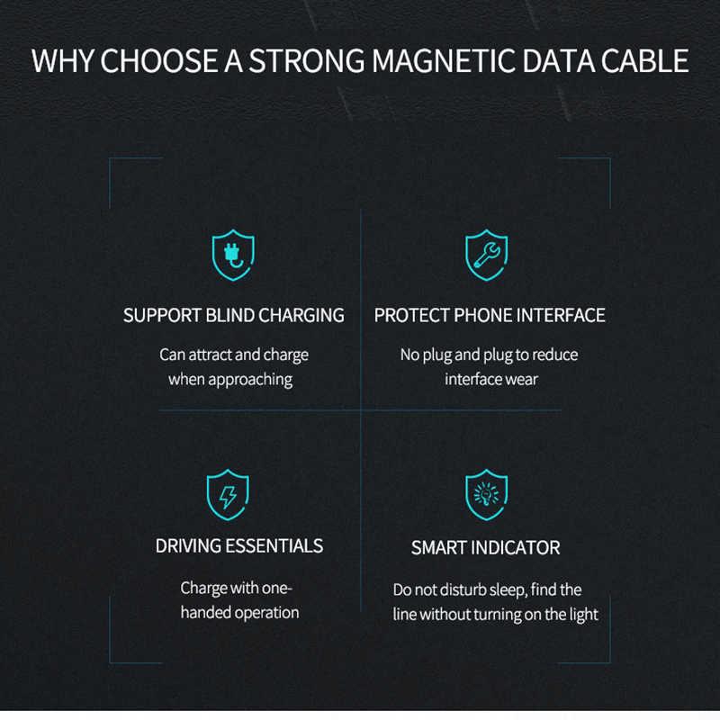 Manyetik mikro USB kablosu iPhone Samsung için hızlı şarj veri kablosu kablosu mıknatıs şarj USB tip C 3m cep telefonu kablo