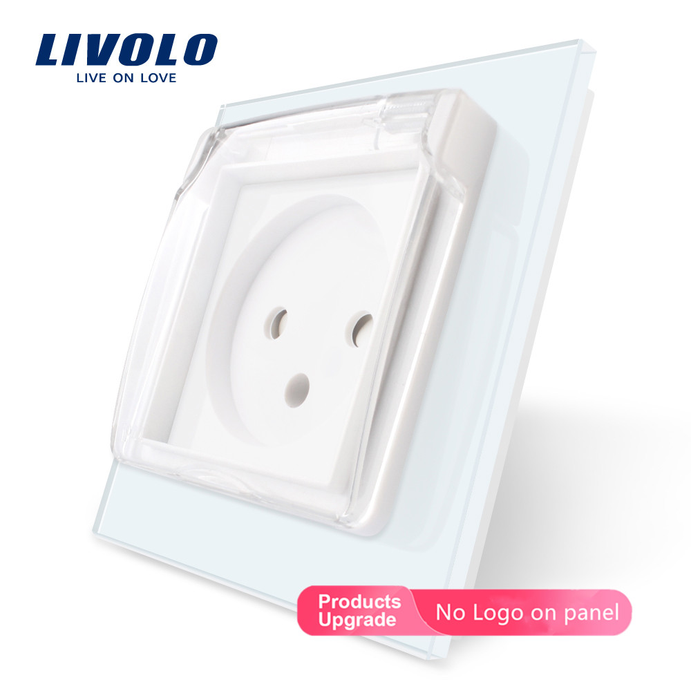 Livolo EU Standard Israel Power Socket,Crystal Glass Panel, 16A,FR Socket,UK US Swizss Plugs ,withWaterproof Cover,no Logo,white