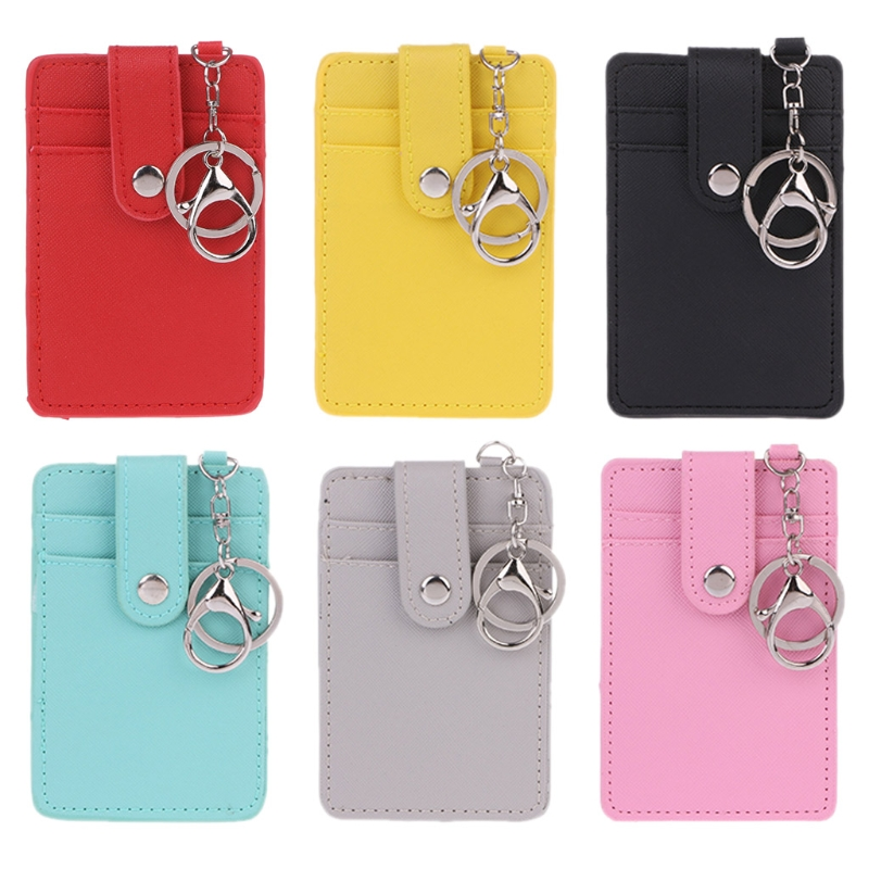 Unisex Colors Portable ID Card Holder Bus Cards Cover Case Office Work Key Chain Key ring Tool