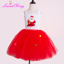 Girls Christmas Tutu Dress Tulle Girl Evening Birthday Party Dresses Kids Girl Ball Gown Dress Halloween Costume 2-12Y цена в Москве и Питере