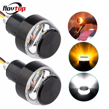 Motorcycle LED Handlebar End Turn Signal Light DC 12V White Yellow Flasher Handle Grip Bar Blinker Side Marker Lamp Z15(China)