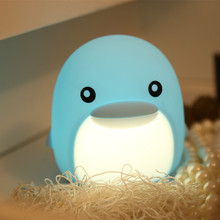 Touch Sensor Colorful LED Dolphin Night Light Cartoon Silicone Animal Desk Lamp Bedroom Bedside for Children Kids Baby Gift