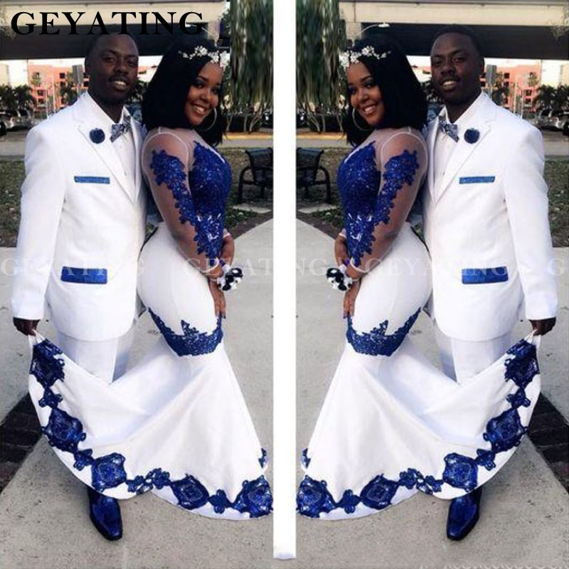 White Satin Royal Blue Lace Aso Ebi African Prom Dresses Long Illusion Sleeves Mermaid Evening Formal Gowns Plus Size Part Dress