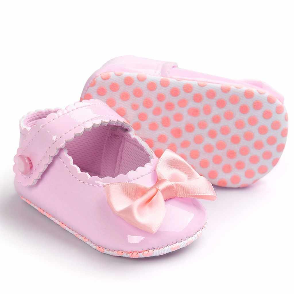 SAGACE תינוק נעלי אופנה תינוק Bowknot Leater נעלי נעל אנטי להחליק רך בלעדי פעוט בנות נסיכה נעל