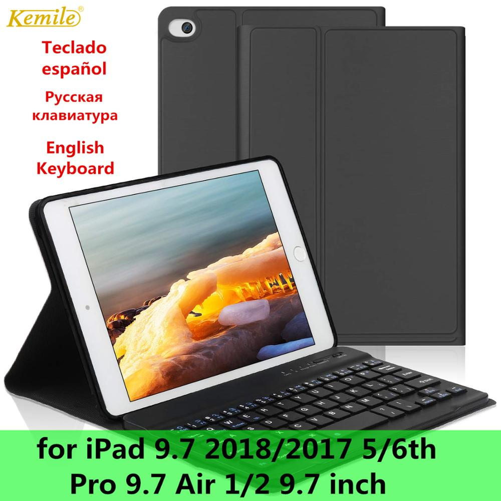Russian/Spanish Bluetooth Wireless Keyboard Case For iPad 9.7 2018 6th Smart PU Leather Full Cover For iPad 9.7 2017 Case 5th