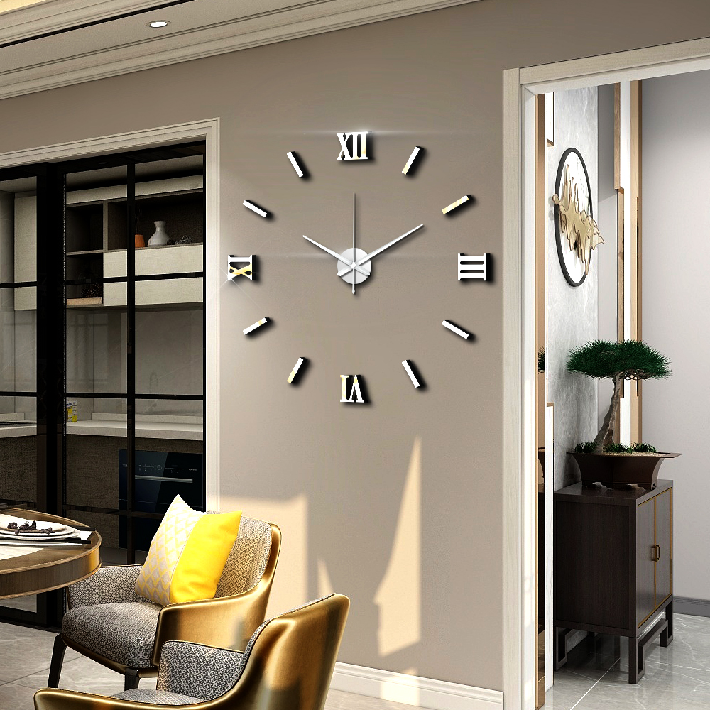 Modern Art 3D DIY Wall Sticker Clock Home Decor Simple Useful Functioning Acrylic Mirror Wall Sticker Clock for Living Room title=