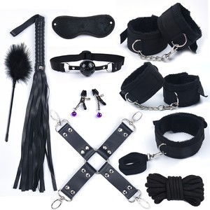 Image 3 - With 10 Speed Vibrator Sexy Adult Product Game Bondage Set Plush Handcuffs for Sex Whip Kit For Couple Sex Toys Women