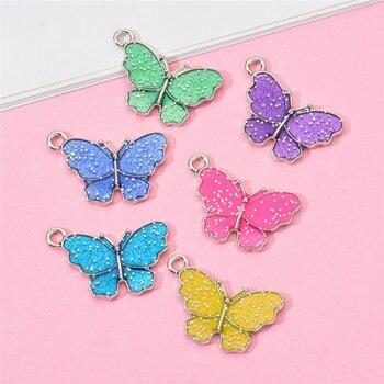 10 sztuk motyl wisiorki kolorowe emalia motylkowe wisiorki małe zwierzę ustalenia DIY biżuteria dostaw