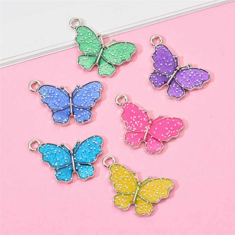 10 PCS Butterfly Pendants Charm Colourful Enamel Animal For Jewelry DIY Making