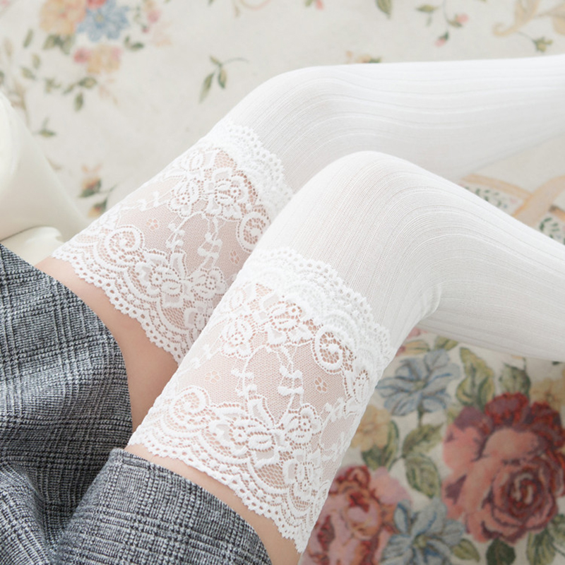 New Fashion Female Striped Thigh High Stockings Women Lace Sexy Cotton Stocking Autumn Spring Knee Stocking Over The Knee (SO06)