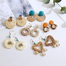 Rattan  earrings shell bohemian hoop brown wooden Round Pendant Drop Earrings For Women