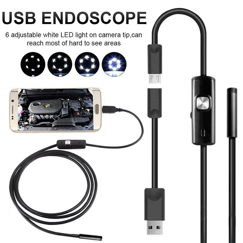 Endoscope 8/7/5.5MM Lens 1M/1.5M/2M Soft Wire Waterproof USB Endoscope Camera 6 LED Borescopes Camera For PC Android Phone|Surveillance Cameras| |  - title=