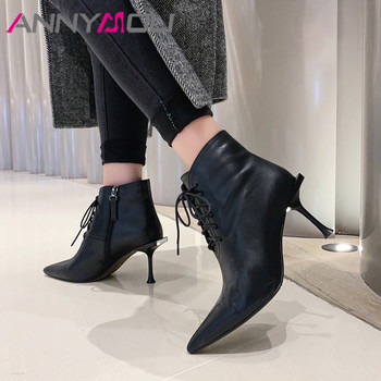 ANNYMOLI Winter Ankle Boots Women Natural Genuine Leather Thin Heels Short Boots Zipper Extreme High Heel Shoes Lady Size 34-39