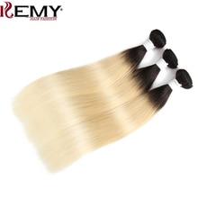 1b/613 # Ombre Blond Haar Bundels KEMY HAAR 8 26 Inch Braziliaanse Straight Menselijk Haar Weeft Bundel niet Remy Hair Extensions 1 PCS