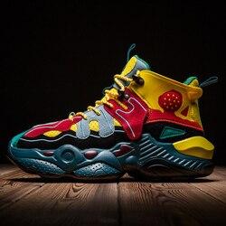 Street Trend hip-hopowe skórzane szwy męskie sportowe buty mieszane kolorowe buty do biegania na zewnątrz wygodne buty do chodzenia
