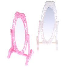 1Pc Pink White Doll Make Up Mirror Rose Fashion Doll Mirror Mini Play Rotatable Party Furniture for Doll DIY Accessories(China)
