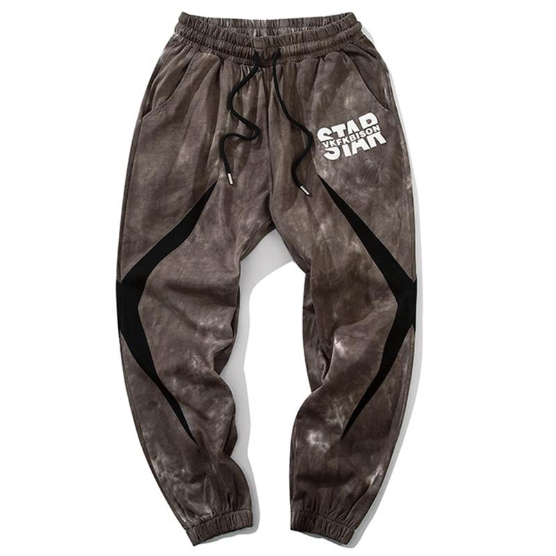 Tie-dye Patchwork Casual Pants Multi-Pocket Elastic Waist Sweatpants Pant Hip Hop Streetwear Cargo Pant Men Little feet Trousers