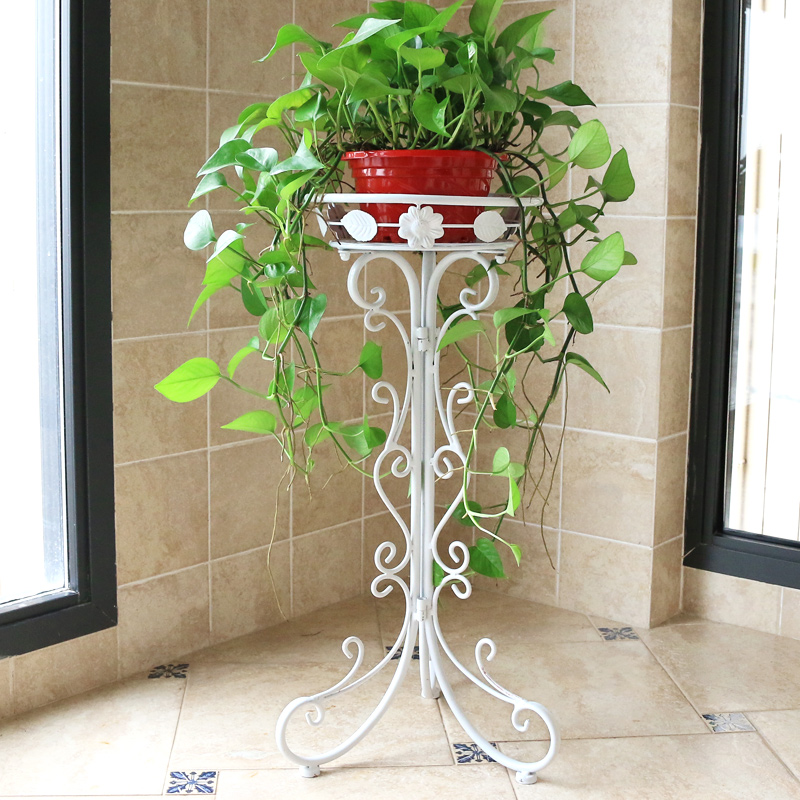 Flower Stand Flower Pot Rack Single Floor Type Wrought Iron European Style Indoor Living Room Hanging Orchid Plant Rack