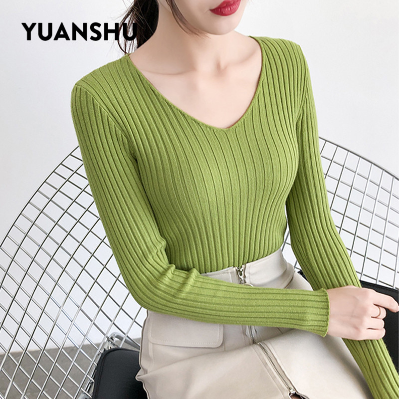 YUANSHU Spring Soft Sweater Women Jumper V Neck Slim Elasticity Knitted Pullover Female Long Sleeve Autumn Basic Knitwear Tops