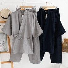 QWEEK Mens פיג מה סטי כותנה קימונו פיג מה Hombre Pyjama Homme רך בית ללבוש 2 חתיכות הלבשת יפני סגנון