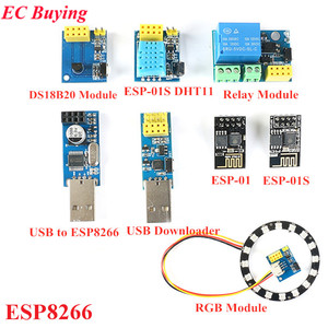 ESP8266 moduł przekaźnika WiFi USB do ESP8266 DHT11 wilgotności temperatury Adapter ESP-01 ESP-01S DS18B20 WS2812 moduł RGB dla Arduino