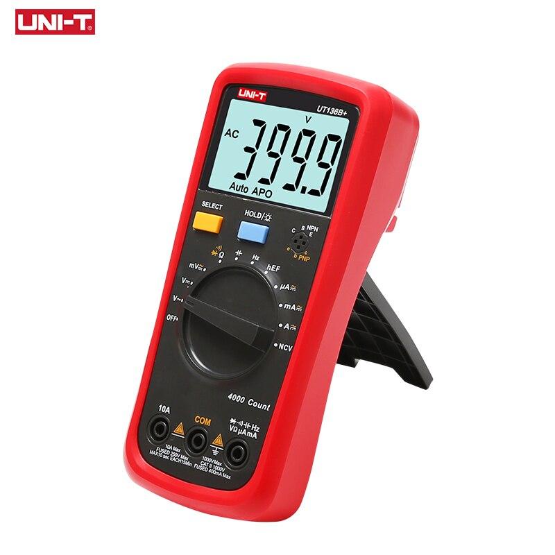 UNI-T UT136B + Multímetro Digital Auto Faixa AC/DC 1000 V/10A DMM Ohm Resistência Capacitância Frequência Diod tester