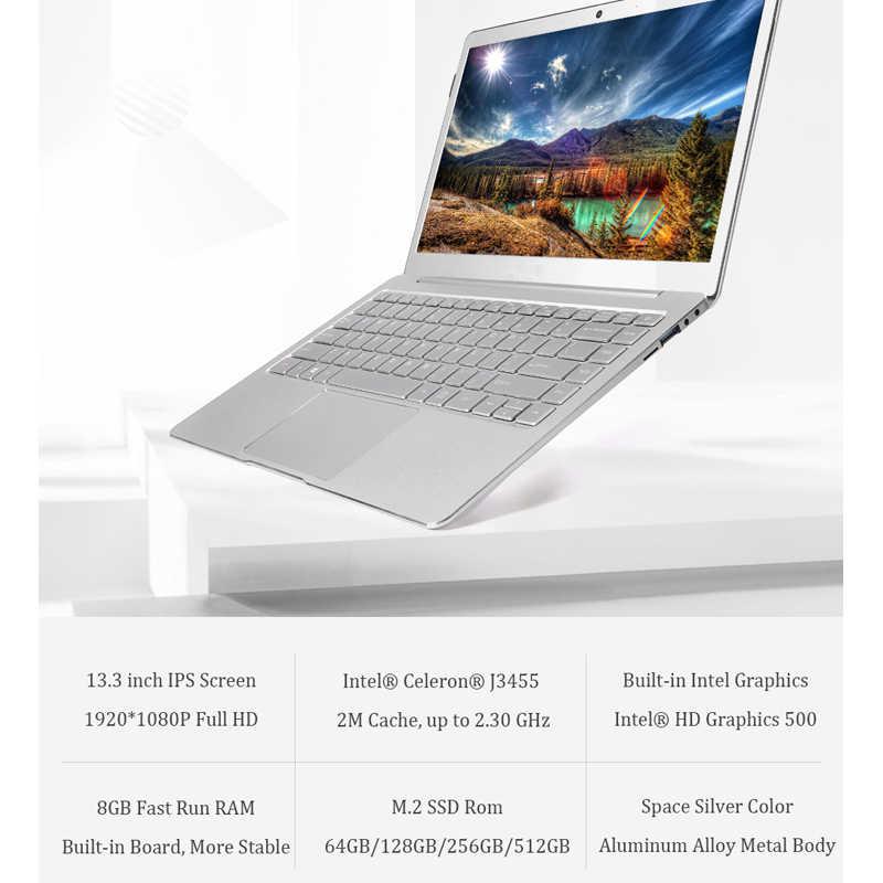 13.3/14 インチインテル J3455 Windows 10 8 ギガバイト RAM 128/256 ギガバイト/512 グラム/1 テラバイト Ssd ノートパソコンのキーボード Ips ディスプレイ金属カバーのノートブック