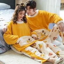 Женские и мужские Фланелевые теплые пижамные комплекты на осень