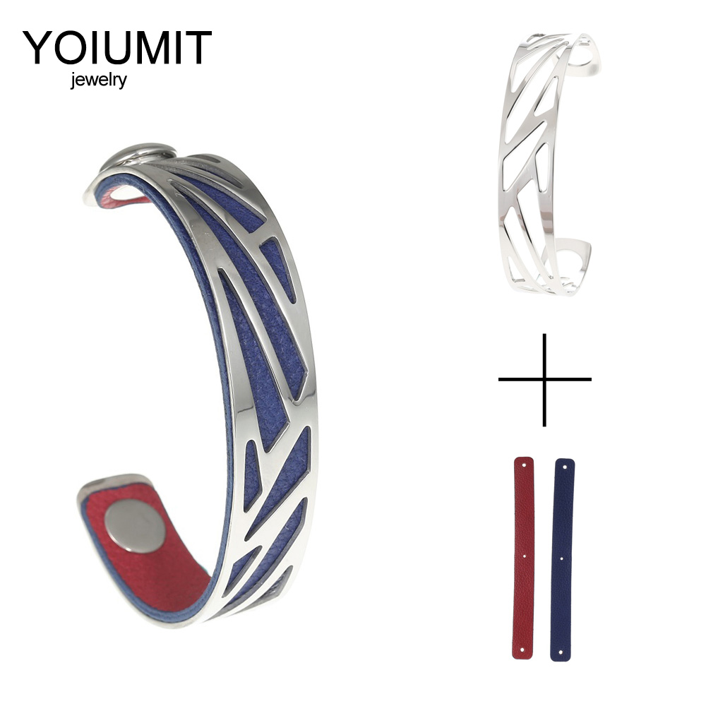 Cremo Ribbon Cuff Bracelet Bangles For Women Bijoux Yoiumit Stainless Steel Bracelets Manchette Femme Reversible Leather Jewelry in Bangles from Jewelry Accessories