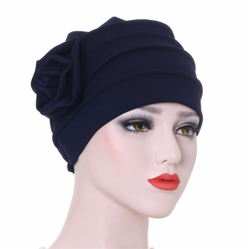 Trendy Lady Muslim Turban Solid Color Cotton Flowers Inner Hijabs Islamic Headdress Women Bonnet Femme Musulman Hijab Caps