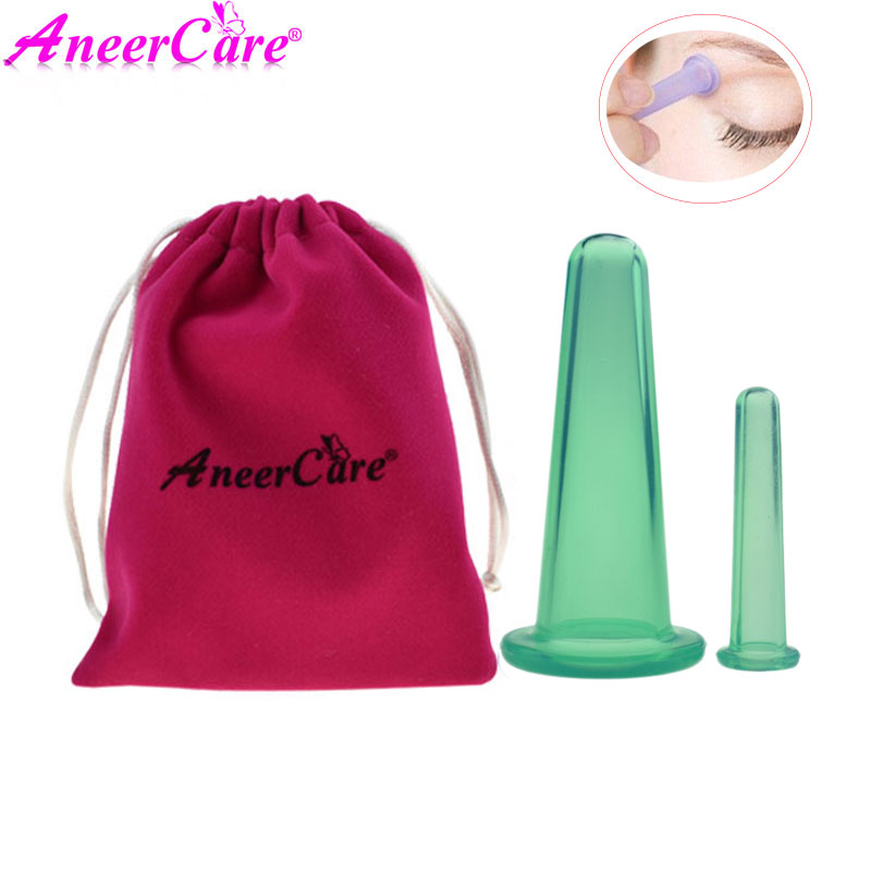 2 pcs Massage vacuum facial massage ventosa suction cup Neck Back Eyes Body massage cans anti cellulite Cups(China)