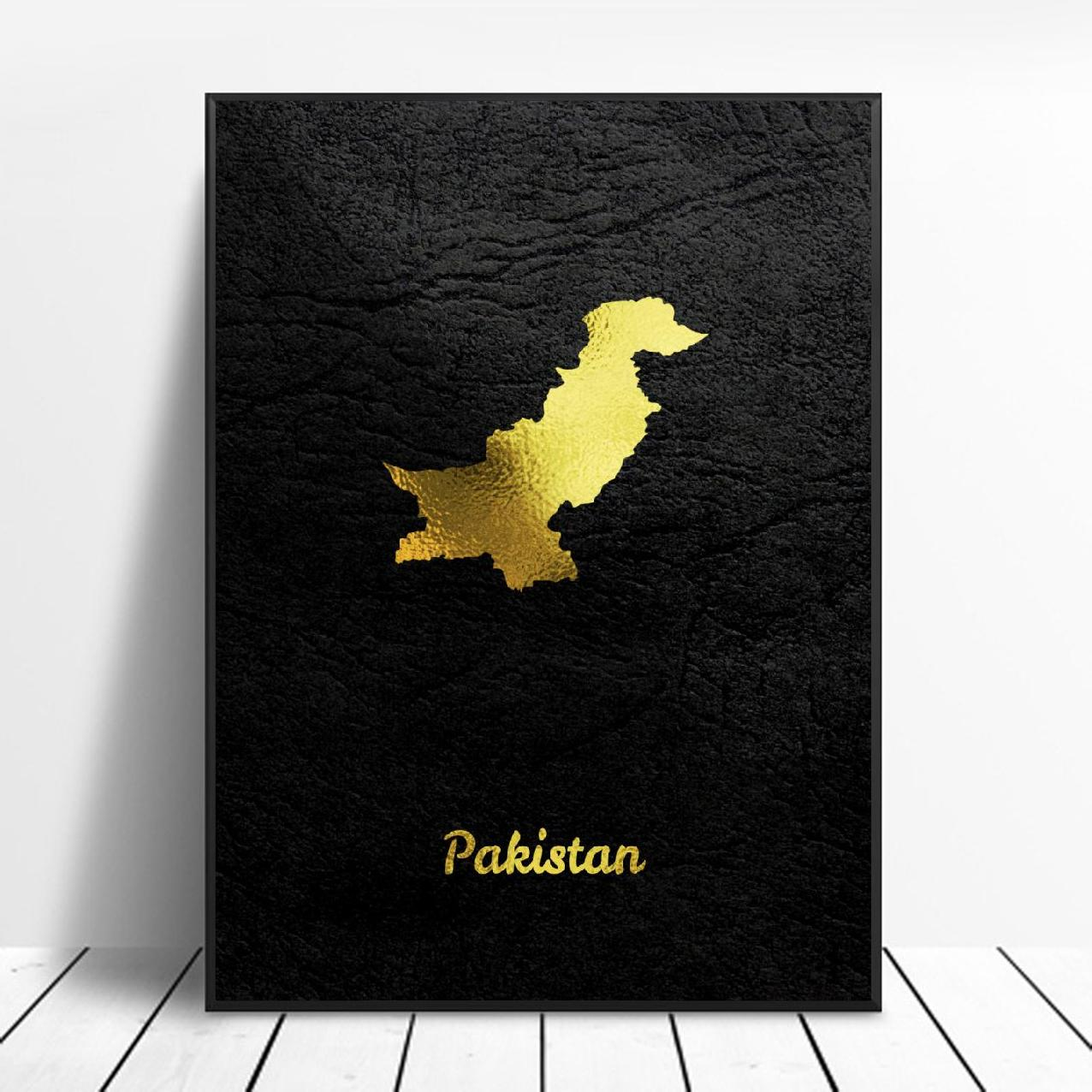Golden Pakistan Map Canvas Wall Art Print Modern Poster Wall Pictures Living Room Decor Painting Calligraphy Aliexpress