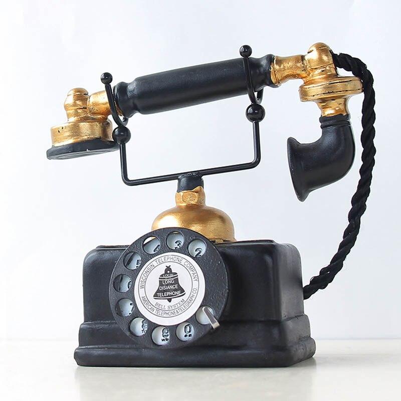 Ev ve Bahçe'ten Dekoratif Telefonlar'de Vintage telefon heykeli antika eski püskü eski telefon heykelcik ev dekor NIN668 title=