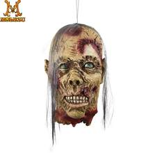 Molezu Halloween Weiß Haar Banshee Halloween Kopf Horror Dekorationen Decapitated Kopf Spukhaus Flucht Decor Hängen Requisiten(China)