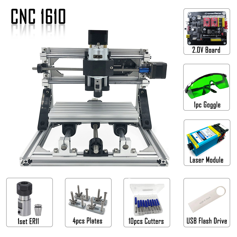 New Upgraded Blue Laser 500mw/2500mw/5500mw 15W Mini CNC1610 With ER11,mini Cnc Laser Engraving Machine,Pcb Milling Machine