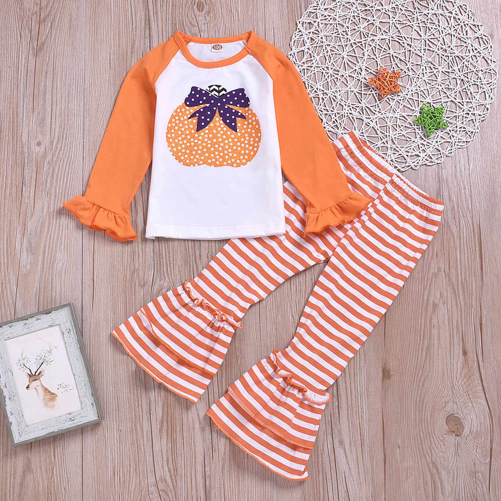 Toddler Baby Girls Halloween Pumpkin Long Sleeve Tops+Striped Bell-bottoms Pants boutique kids clothing cotton Autumn Outfits
