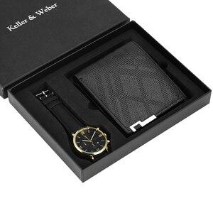 Image 4 - Luxus Männer Uhr Brieftasche Set Lederband Quarz Armbanduhr Mode Analog Uhr Geburtstag Geschenke für Vater Ehemann freund