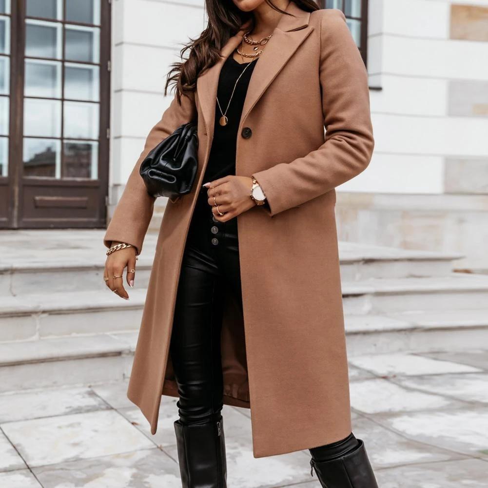 Ladies Womens Wool blend Overcoat Lapel Long Coat Parka Outwear Fashion Chic^^