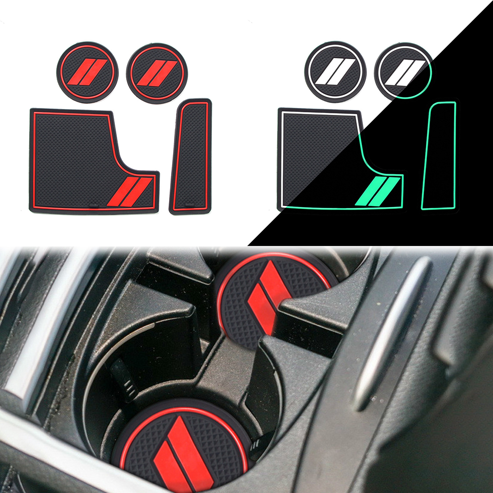 For Dodge CHARGER 2015-2019 Car Non-slip Shockproof Door Slot Pad Mat Interior Water Cup Holders Latex Anti-dust Mats 4Pcs