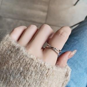 MENGJIQIAO 2020 Korean Delicate Zircon Double Layer Twist Open Adjustable Rings For Women Micro Pave Femme Finger Ring Jewelry